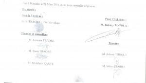 Accord de Vente Villageoise conclu entre la Famille Togola et  le conseil de village de Massako